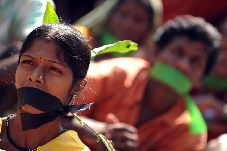 <p>Indian adivasis-tribals during a sit-in protest on Human Rights Day in Mumbai on Dec. 10, 2010.</p>