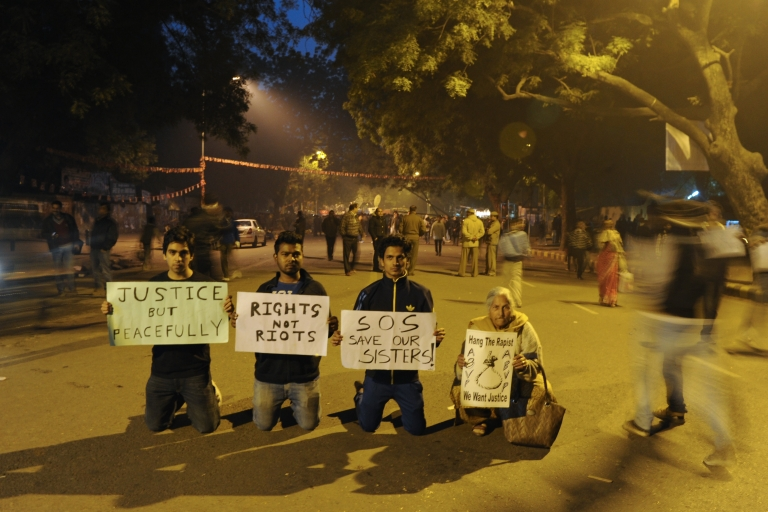 <p>Protesters on Dec. 24, 2012 in New Delhi, India.</p>