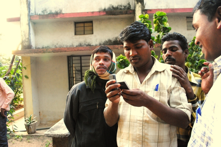 <p>Citizen journalism training session in Chhattisgarh, central India. Shubhranshu Choudhary, formerly a producer with the BBC, led the session. He has launched a mobile phone-based news network which aims to skirt India's radio news ban.</p>