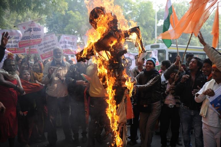 <p>Indian protesters burn a rapist in effigy Dec. 26, 2012, in New Delhi, India.</p>