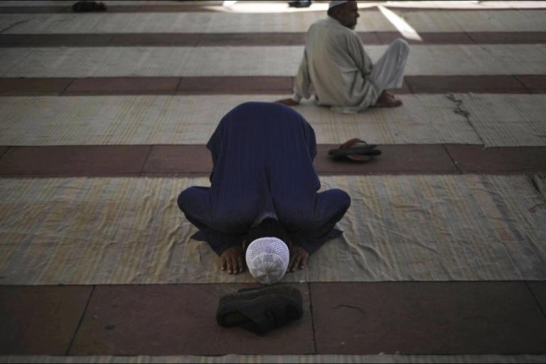 <p>An Indian Muslim prays duringi the Friday prayer noon at the Jama Masjid in New Delhi.</p>