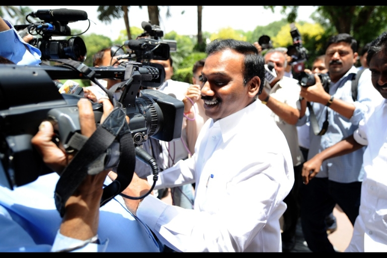 <p>Former telecom minister A. Raja arrives at Parliament in New Delhi on May 16, 2012. A day after he walked out of Tihar Jail after securing bail in the 2G spectrum scam, A Raja went to Parliament. The former telecom minister was in jail for over 15 months after being arrested in February last year for his role in the 2G scam.</p>