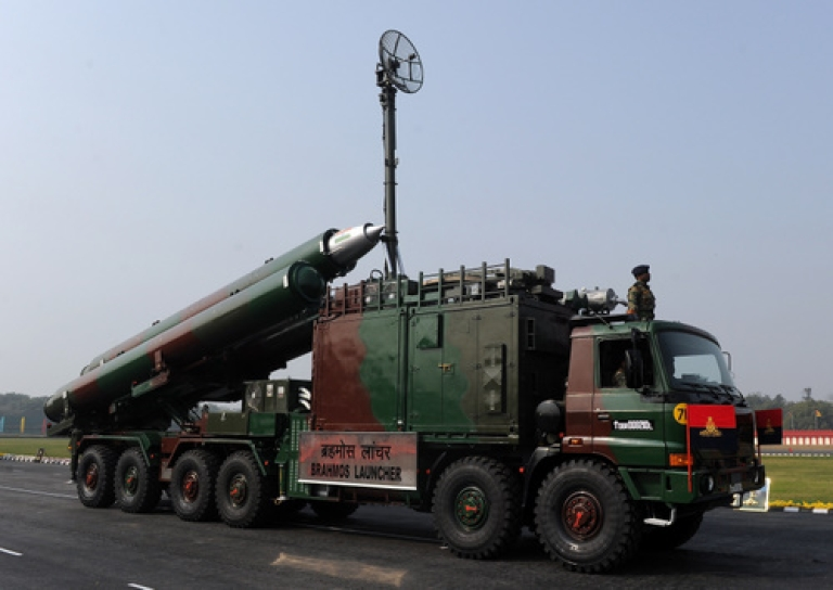 <p>An Indian Army Brahmos missiles and launcher is displayed at the Army Day parade in New Delhi on January 15, 2011. The Indian army celebrated the 63rd anniversary of the formation of its national army with soldiers from various regiments and artillery taking part in a parade.</p>