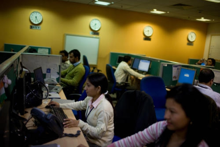 <p>Indian staff work at a call-centre in Gurgaon on the outskirts of New Delhi on December 10, 2008. Described by author Palash Mehrotra as