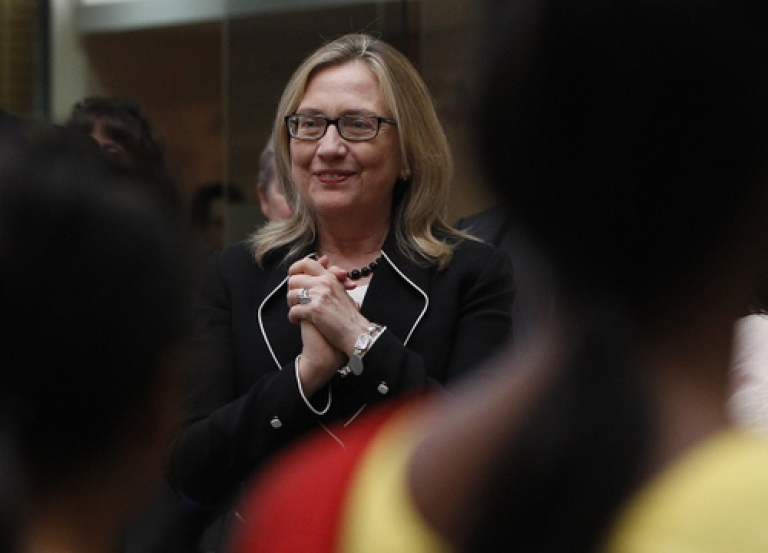 <p>U.S. Secretary of State Hillary Clinton watches a performance during an Anti-Human Trafficking event  in Kolkata May 6, 2012.  Clinton landed in India with hopes of reinvigorating a relationship seen as losing steam despite efforts to bring the world's two largest democracies closer.</p>