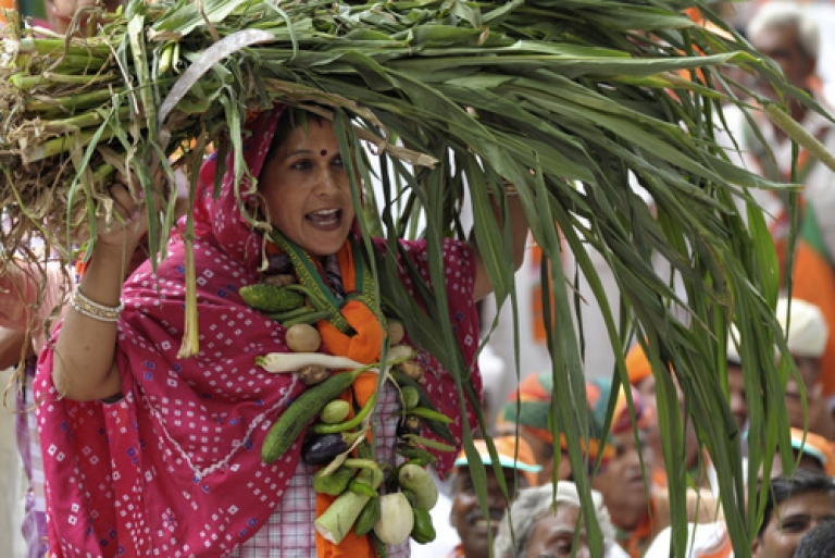 <p>An Indian farmer with vegetables and produce demonstrates during a protest against land acquisition in New Delhi on August 3, 2011. Dozens of farmers assembled at Jantar Mantar during the protest led by the opposition Bharatiya Janata Party's (BJP) Kisan Morcha.</p>