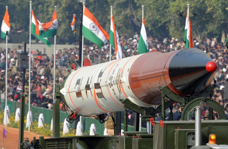 <p>A previous iteration, the Agni IV, is displayed at the Republic Day parade in New Delhi on Jan 26.</p>