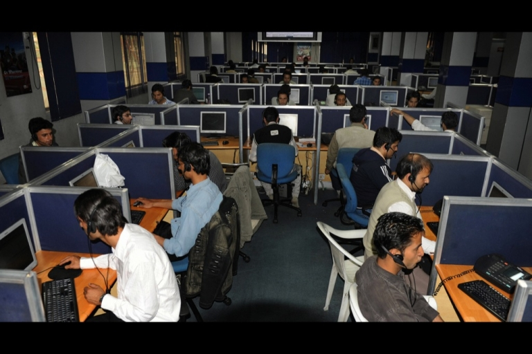 <p>Kashmiri employees working at a call centre in Srinagar. This call centre works 24/7 operations at Access Infrastructure which serves clients of one of India's largest cell phone networks.</p>
