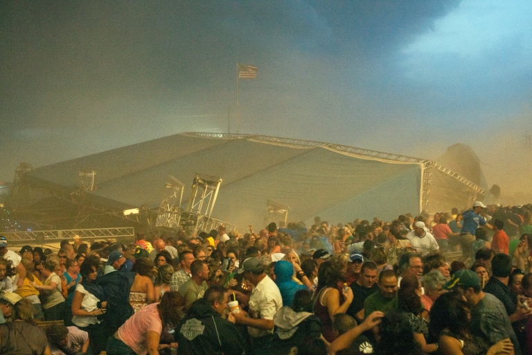 <p>The stage collapses at the Indiana State Fair on Aug. 13, 2011 in Indianapolis, Indiana. The stage fell just before country duo Sugarland were scheduled to perform, killing seven people and injuring as many as 40 more.</p>