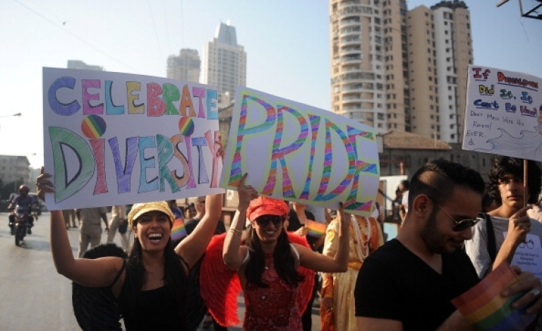 <p>Indian supporters of the lesbian, gay, bisexual and transgender community participate in the 'Queer Azadi March' in Mumbai on January 28, 2012.</p>