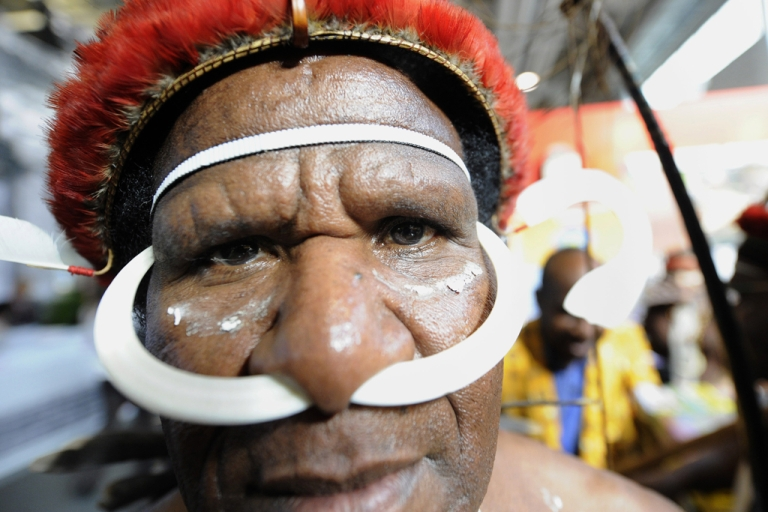 <p>A man from the Indonesian island Papua on March 10, 2010.</p>