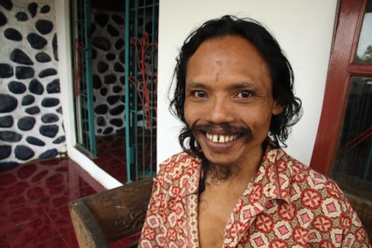 <p>Indonesian cannibal Sumanto poses at a private rehabilitation centre housing persons with mental and emotional problems in 2009. Sumanto is undergoing spiritual guidance and rehabilitation therapy after his release from jail when he was convicted for stealing a body of a dead woman in a cemetery and eating parts of the corpse.</p>