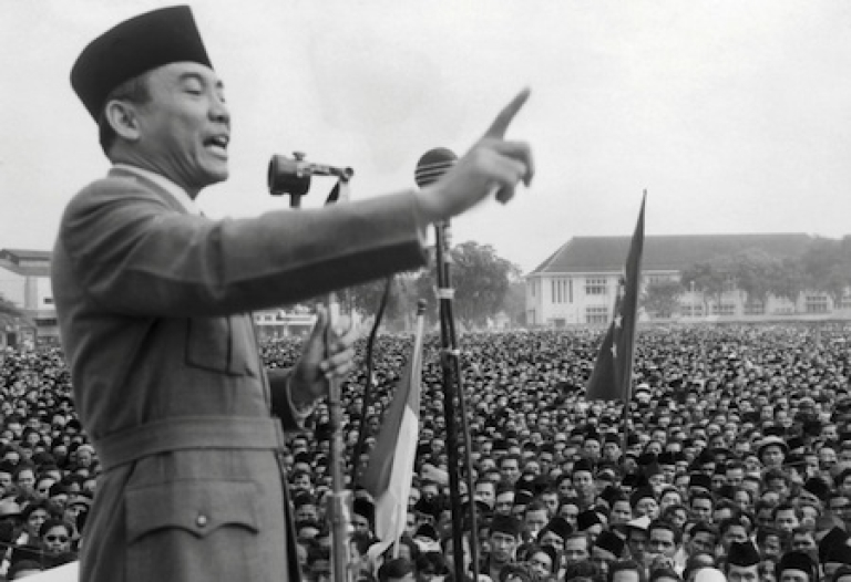 <p>Leader of the Indonesian National Party Achmed Sukarno (1902-70) demanding independence from the Netherlands in an undated photo. Indonesian independence from Dutch colonial rule was achieved in 1949 after a bloody struggle.</p>