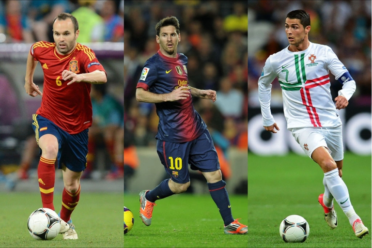 <p>From left, Spain's Andres Iniesta, Argentinian forward Lionel Messi and Portuguese midfielder Cristiano Ronaldo are the three finalists for the 2012 FIFA Ballon d'Or award, which will be presented at a ceremony in Zurich on January 7, 2013.</p>