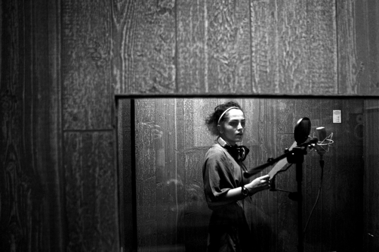 <p>Iranian singer Maral Afsharian practices her music in a recording studio in Tehran on Nov 12, 2010.</p>