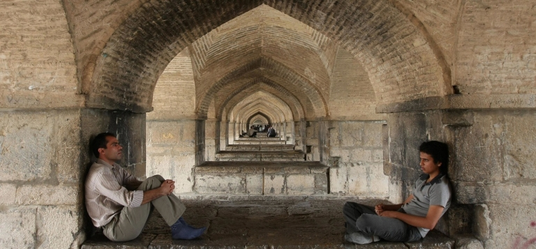 <p>Iranians rest under a bridge in Isfahan, Iran. Residents of Israel and Iran are increasingly reaching out to each other on Facebook and other social media sites to declare their friendship and opposition to war.</p>