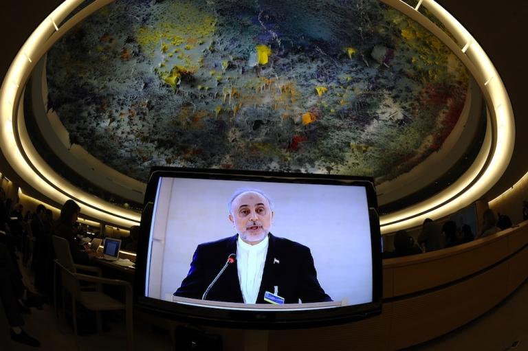<p>Iranian Minister for Foreign Affairs Ali Akbar Salehi is seen on a TV screen delivering a speech at the opening day of the United Nation Human Rights Council annual session on Feb. 27, 2012 in Geneva.</p>