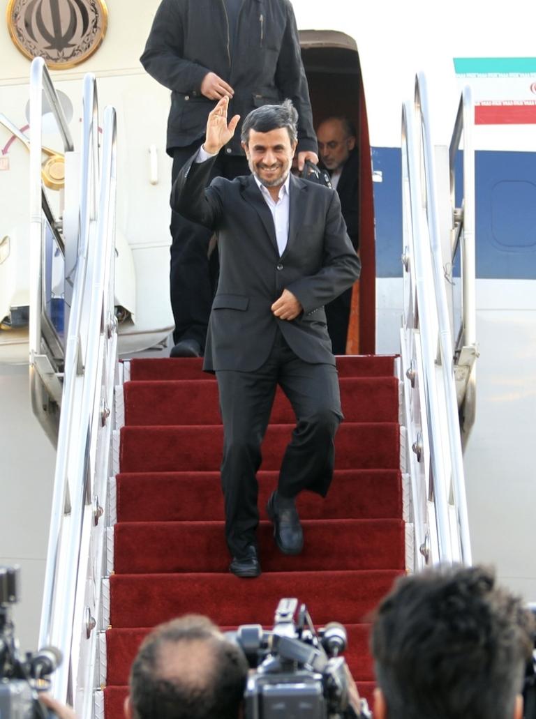 <p>Iranian President Mahmoud Ahmadinejad arrives at Tehran's Mehrabad airport on January 14, 2012 upon his return from a five-day visit to Venezuela, Nicaragua, Cuba and Ecuador.</p>