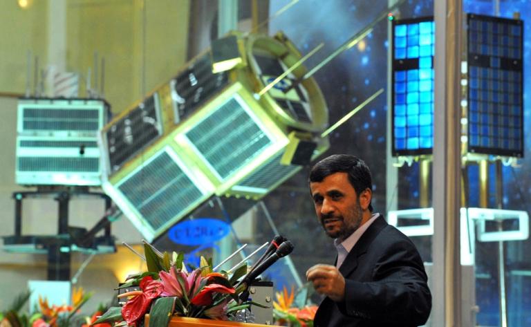 <p>Iranian President Mahmoud Ahmadinejad speaks during the unveiling ceremony of new satellite rocket in Tehran on February 3, 2010.</p>
