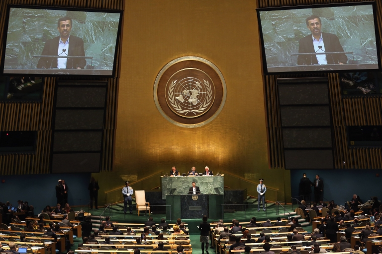 <p>Mahmoud Ahmadinejad, President of the Islamic Republic of Iran, addresses the UN General Assembly on Sept. 26, 2012, in New York City.</p>
