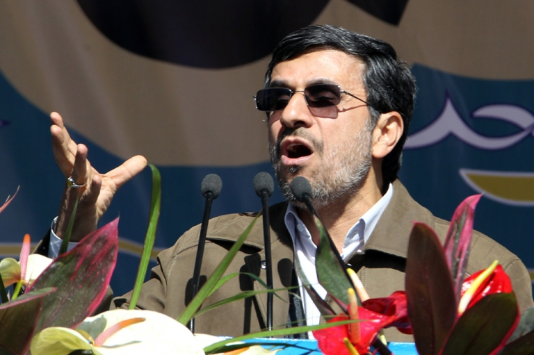 <p>Iranian President Mahmoud Ahmadinejad delivers his speech during the 33rd anniversary of the Islamic revolution in Azadi (Freedom) Square in southwestern Tehran on February 11, 2012.</p>