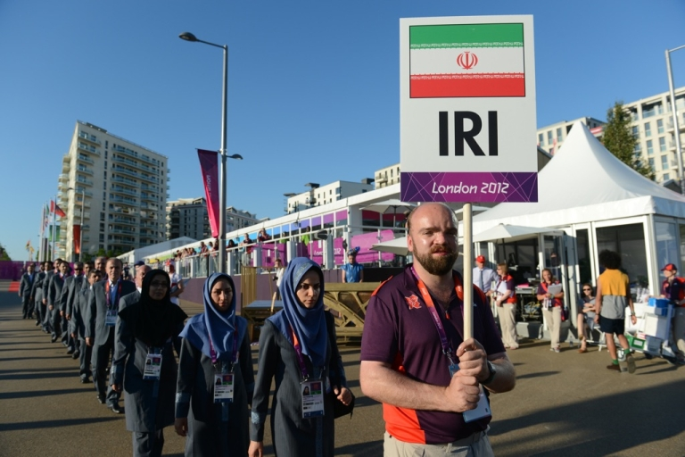 <p>Members of the Iran Olympic delegation arrive at the Athletes' Village at the Olympic Park in London, England on July 23, 2012.</p>