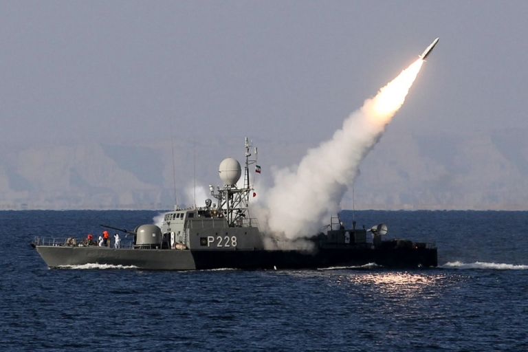 <p>Iranian navy fires a Mehrab missile during the 'Velayat-90' naval wargames in the Strait of Hormuz in southern Iran on January 1, 2012. Iran defiantly announced that it had tested a new missile and made an advance in its nuclear programme after the United States unleashed extra sanctions that sent its currency to a record low.</p>