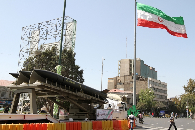 <p>Iranian Zelzal missiles are displayed on September 23, 2012 in a square south of Tehran to mark the