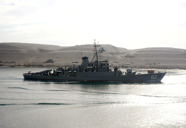 <p>Iranian corvette class vessel 'Shahid Naqdi', sent by Tehran to the Mediterranean to help 'train the Syrian navy.</p>