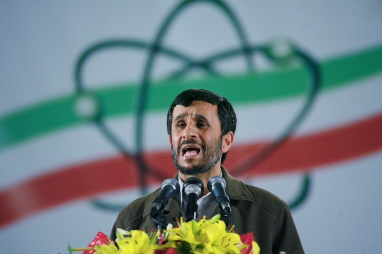 <p>Iranian president Mahmoud Ahmadinejad speaks at a ceremony at the Natanz nuclear enrichment facility in Iran, on April 9, 2007.</p>