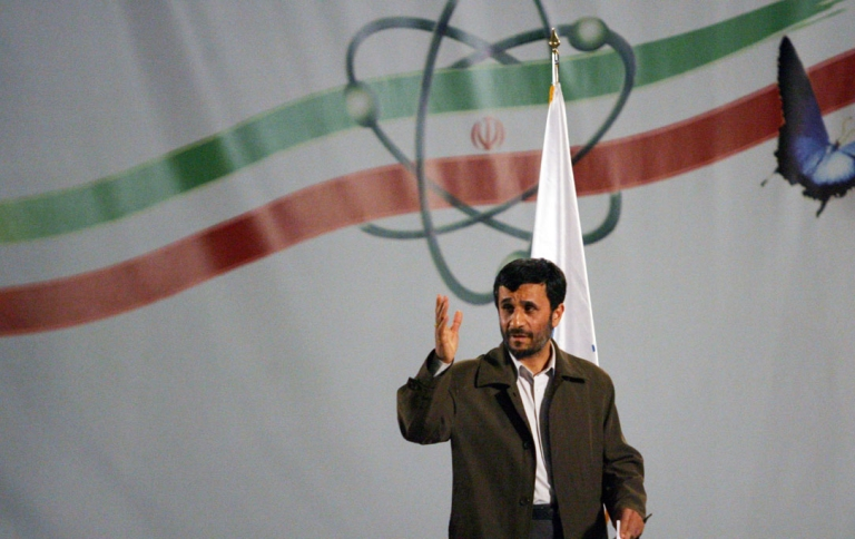 <p>Iran's president Mahmoud Ahmadinejad speaks at a ceremony at the Natanz nuclear enrichment facility on April 2007.</p>