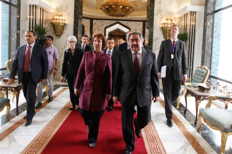 <p>European Union Foreign Policy Chief Catherine Ashton of the UK (front L) walks with Iraq's Foreign Minister Hoshyar Zebari before their meeting on May 23, 2012 in Baghdad, Iraq. Representatives from the P5+1 group of nations are meeting in Baghdad to hold talks aimed at persuading Iran to suspend their nuclear program.</p>