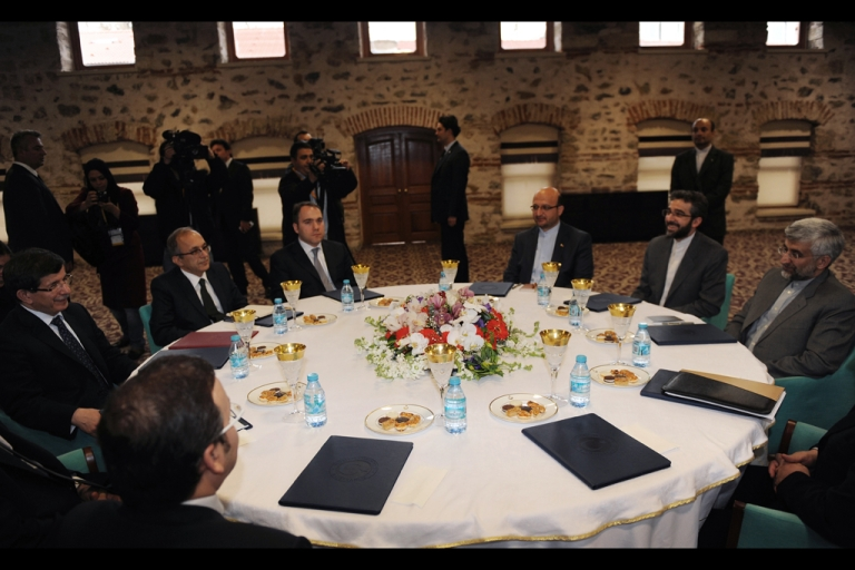 <p>Turkish Foreign Minister Ahmet Davutoglu sits with Iran's top national security official Saeed Jalili before their meeting on April 13, 2012 on the eve of the resumption of talks between the European Union and Iran about its nuclear program. A new round of nuclear talks between Iran and representatives of the