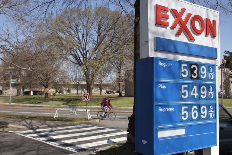 <p>A sign shows gas prices over five dollars a gallon for all three grades at an EXXON service station on March 13, 2012 in Washington, DC. According to AAA the average price of gas has climbed three tenths of a cent nationwide as a result of high oil prices and tensions tied to Iran's nuclear program.</p>