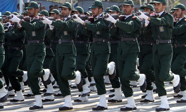 <p>Iranian Revolutionary Guards on parade in Tehran.</p>