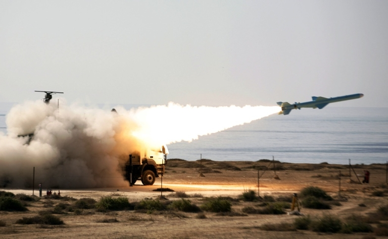 <p>An Iranian Qader (Ghader) ground-to-sea missile is launched on the last day of navy war games near the Strait of Hormuz in early January.  On Jan. 23, 2012, the European Union enacted tough sanctions against Iran; earlier, Tehran had threatened to close down the waterway in retaliation against an oil embargo.</p>