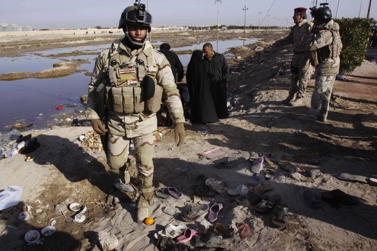 <p>A bomb exploded near crowds of Shiite pilgrims in Basra, killing at least 53 and wounding 137.</p>