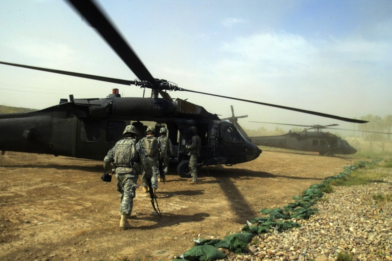 <p>President Barack Obama announced a withdrawal of U.S. troops from Iraq by the end of the year.  U.S. soldiers are shown here boarding a Blackhawk helicopter in Yussifiyah, south of Baghdad, on Oct. 15, 2008.</p>