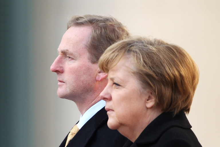 <p>Irish Prime Minister (Taoiseach) Enda Kenny (L) and German Chancellor Angela Merkel (R). The latest polls indicate that the Irish will approve the austerity plan, bucking the recent voting trend in Greece, France and even Germany. But that doesn't mean that the Irish are enthusiastic adherents of Merkel's belt-tightening fixation.</p>
