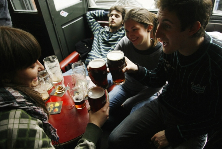 <p>Should these St Patrick's Day revellers in Dublin be allowed to drive home?</p>
