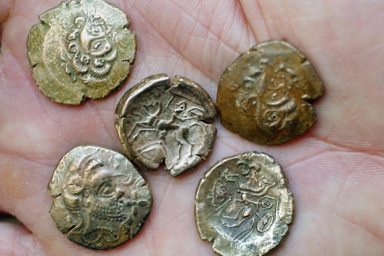 <p>A massive hoard of coins from the Iron Age, similar to these, were found by two metal detector enthusiasts in Jersey after a search that spanned 30 years.</p>
