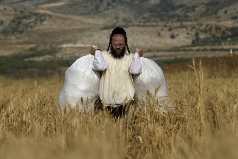 <p>An Ultra-Orthodox Jew carries sacks full of wheat. The Israeli government enacted a series of austerity measures this week as it finally begins to feel the pinch of the global economic slowdown.</p>