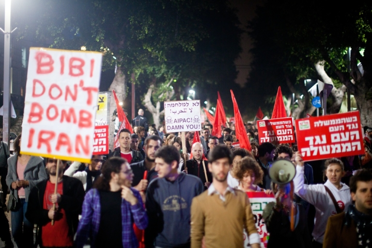 <p>People demonstrate against a possible Israeli military attack and war with Iran on March 24, 2012 in Tel Aviv, Israel.</p>