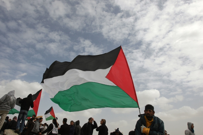 <p>An activist waves the Palestinian flag at a protest in the West Bank village of Bilin on February 17, 2012, during a weekly demonstration against Israel's controversial separation barrier and in support of prisoner Khader Adnan, a senior member of the Islamic Jihad jailed in Israel who is due to go free on Tuesday.</p>