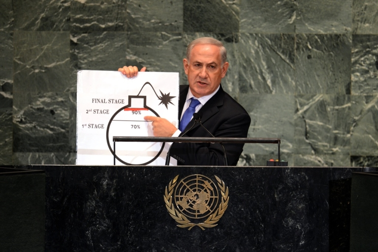 <p>Benjamin Netanyahu, Prime Minister of Israel, uses a diagram of a bomb to describe Iran's nuclear program at the United Nations General Assembly in September 2012.</p>