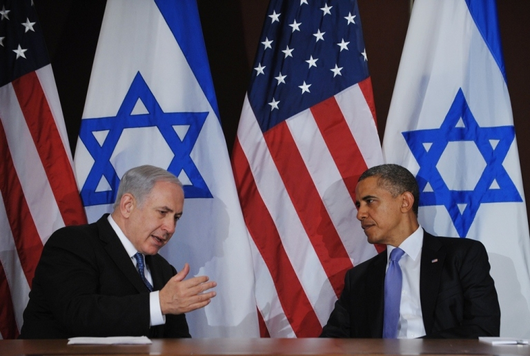 <p>Israeli Prime Minister Benjamin Netanyahu speaks during a bilateral meeting with US President Barack Obama on Sept. 21, 2011 at the United Nations in New York City.</p>