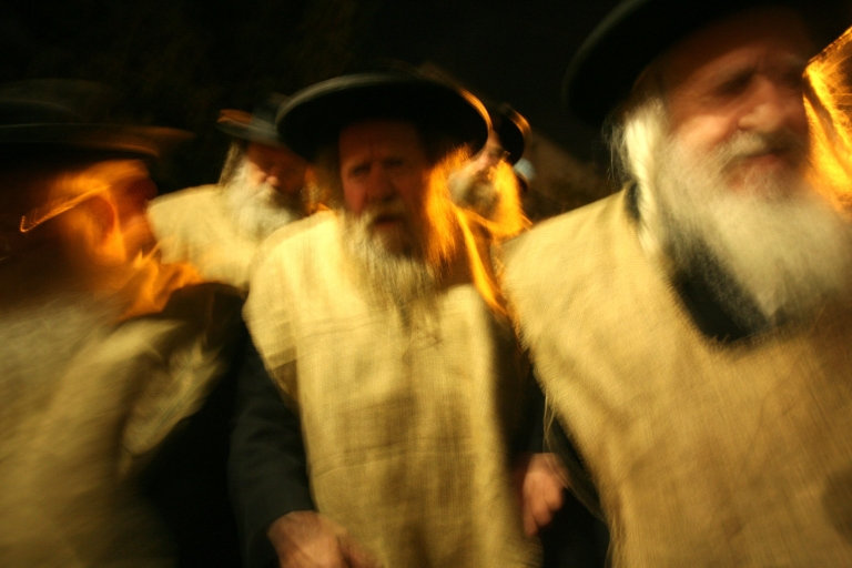 <p>Ultra-Orthodox rabbis, wearing sack-cloths in a Biblical sign of mourning, lead a protest against a gay pride parade in Jerusalem.</p>