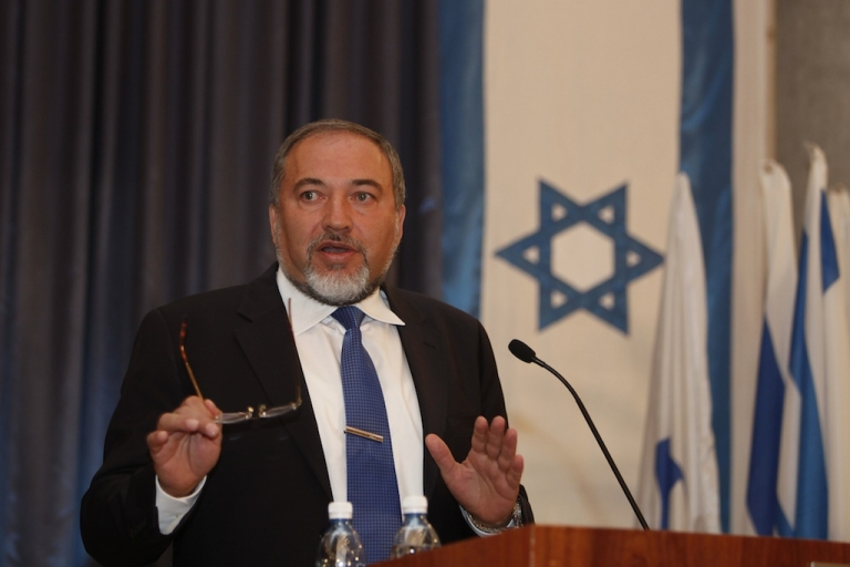 <p>Israel's Foreign Minister Avigdor Lieberman speaks during a press conference at his office in Jerusalem on September 13, 2012.</p>