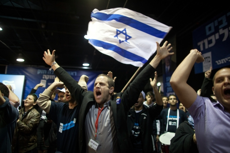 <p>Supporters of Israeli Prime Minister Benjamin Netanyahu on Jan. 22, 2013 at his election campaign headquarters in Tel Aviv, Israel.</p>