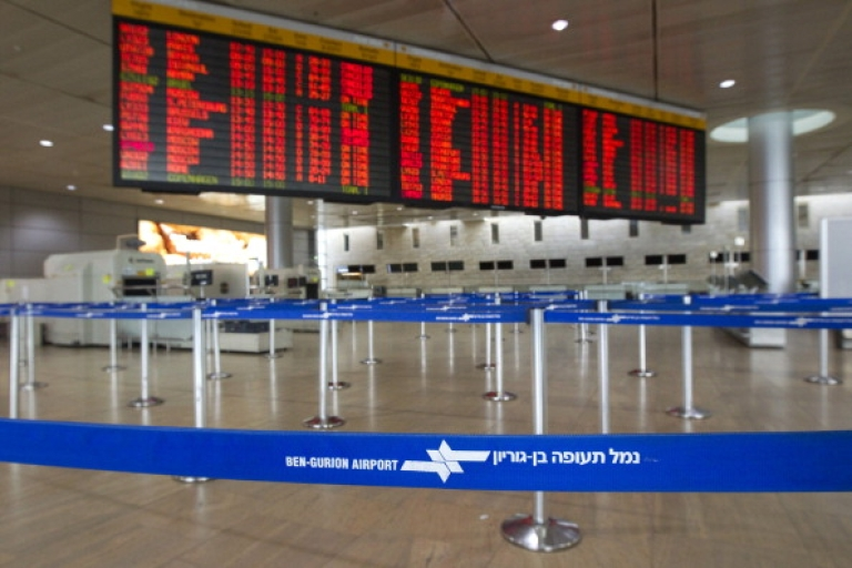 <p>A deserted departures hall is pictured during a six-hour strike at the Ben Gurion Airport near Tel Aviv on Febuary 8, 2012. Half a million Israeli public and private sector workers went on general strike, shutting down government offices, banks and airport traffic over the rights of contract workers. AFP PHOTO/JACK GUEZ (Photo credit should read JACK GUEZ/AFP/Getty Images)</p>